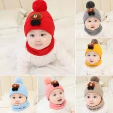 Bộ mũ + khăn len gấu Brown cho bé