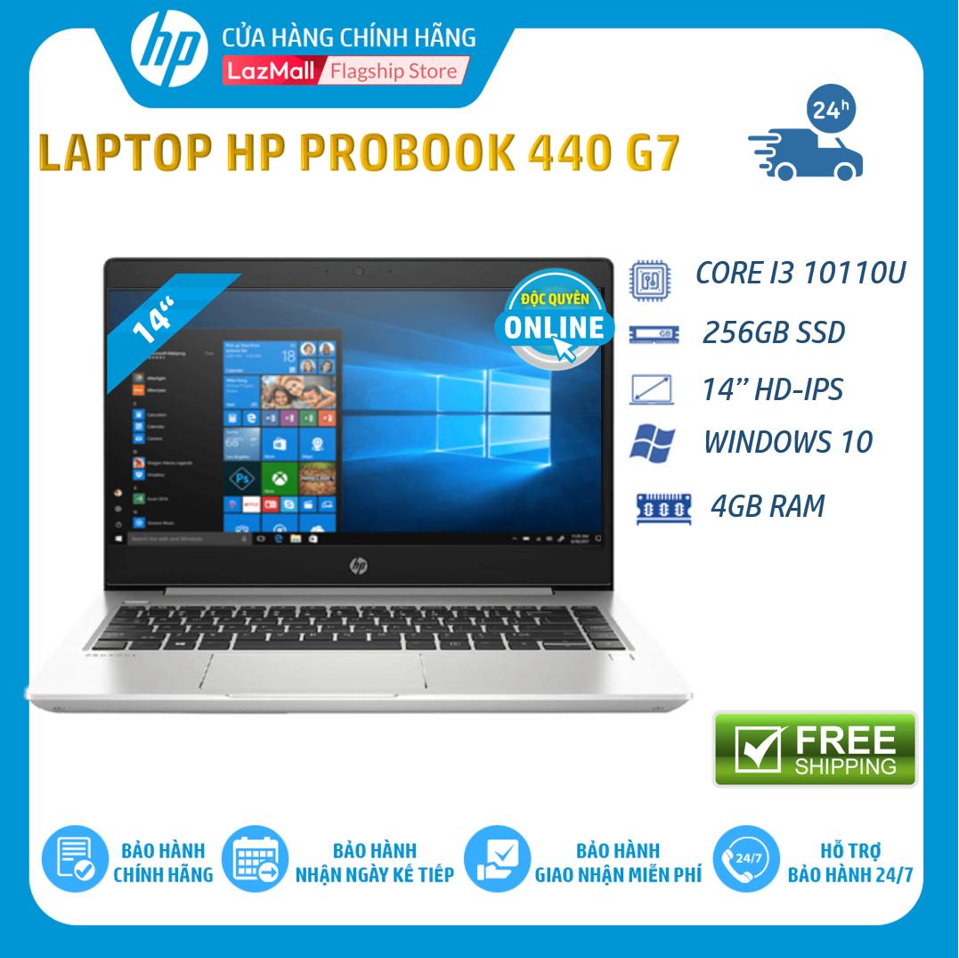 Laptop Máy tính xách tay HP ProBook 440 G7 (Intel Core i3-10110U,4GB RAM,256GB SSD,14″HD,Webcam, Fingerprint, Win 10 Home 64,1Y WTY)-1P5G9PA – Hàng chính hãng