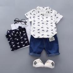 Bộ đồ bé trai Quần áo bé trai Quần áo trẻ em nam BBT028 in hình vương miện mùa hè cho bé 1 2 3 4 tuổi nặng từ 6-15kg (trắng/xanh tím than)