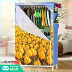 Tủ vải 3D 1 buồng , 2 ngăn,gọn nhẹ, chắc chắn, tủ nhựa, tủ quần áo, tủ vải, tủ vải đựng quần áo, tủ vải quần áo, tủ vải treo quần áo, tủ vải đựng đồ (Mẫu ngẫu nhiên)