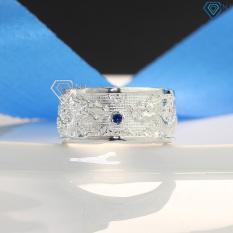 Nhẫn nam hình rồng bằng bạc thật đính đá xanh dương NNA0067 – Trang Sức TNJ