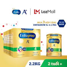 Bộ 3 hộp sữa bột Enfagrow 4 cho trẻ trên 2 tuổi 2.2kg – 4 túi thiếc 550g) – Tặng 1 lon Enfagrow 4 1.7kg
