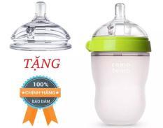 Bình sữa comotomo 250ml siêu mềm- tặng núm ti thay thế cho bình