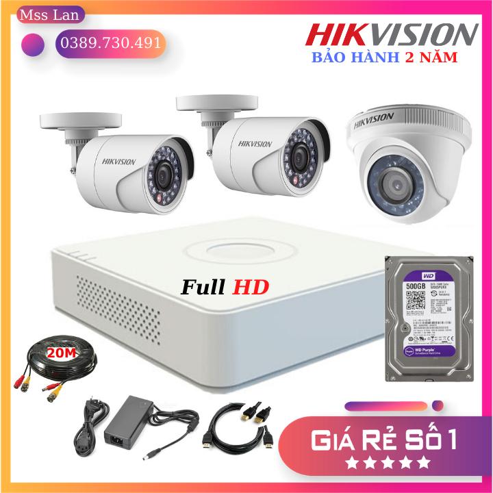 Trọn Bộ 3 Mắt Camera HikVision 2.0Mp Full HD – Bảo Hành 24 Tháng, Tặng Kèm Ổ Cứng Và Toàn Bộ Phụ Kiện