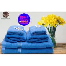 Bộ 6 Khăn Tắm cao cấp thương hiệu LuxStay gồm 2 Khăn tắm khổ lớn kt 70*140cm, 2 Khăn gội 35*80cm, 2 khăn mặt 30*50cm dệt 100% bông tự nhiên an toàn cho Da