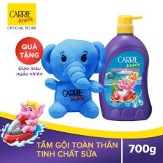 Tắm gội cho bé Carrie Junior Tinh chất Sữa 700gr tặng Voi bông