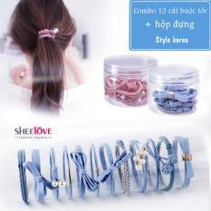 Combo 12 dây cột tóc nơ ngọc trai hoa lá thời trang hàn quốc dễ thương xinh xắn