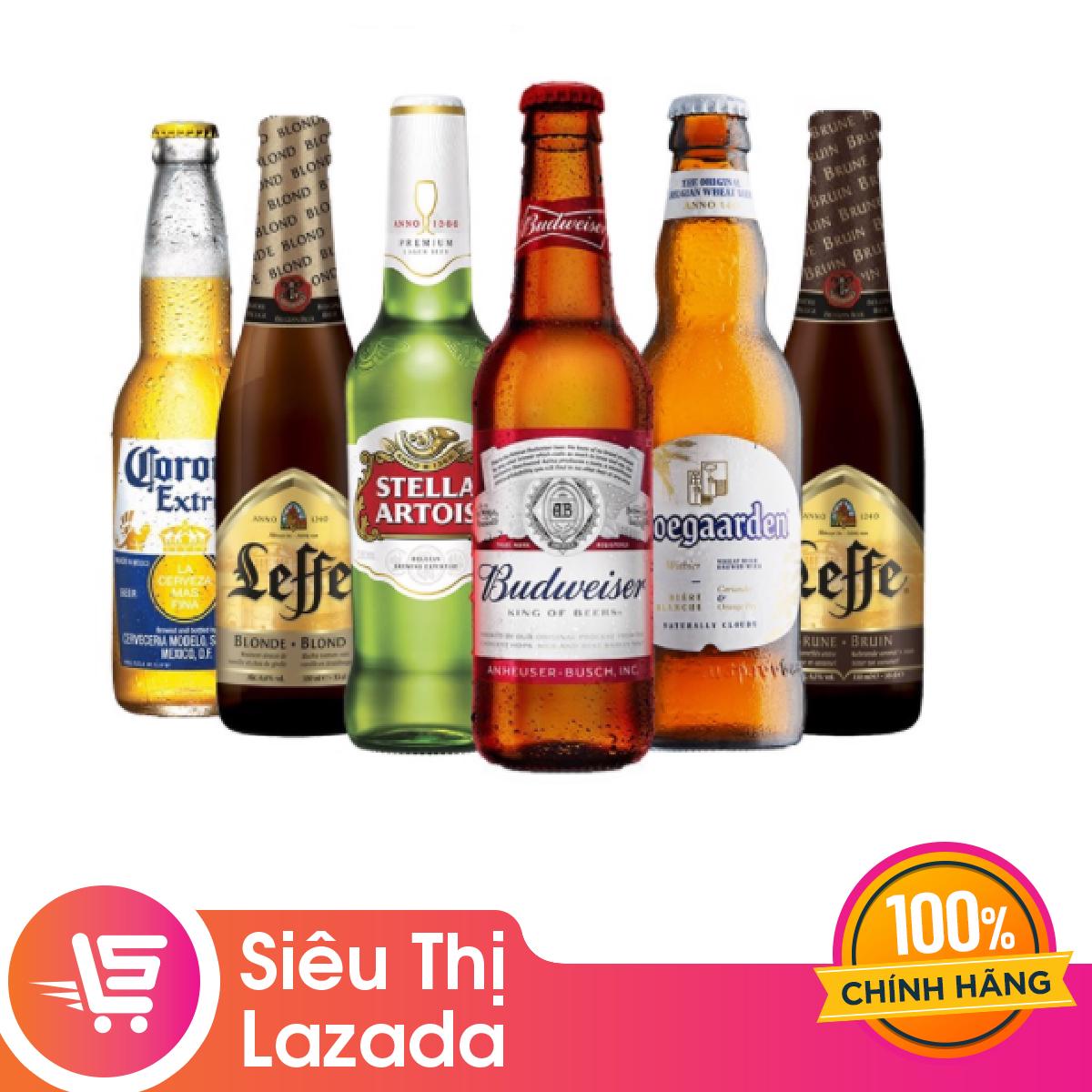 [Siêu thị Lazada] Bộ sưu tập 6 chai bia Budweiser Leffe Hoegaarden Stella Corona (Beers of the world) hương thơm tự nhiên, hương vị tuyệt hảo