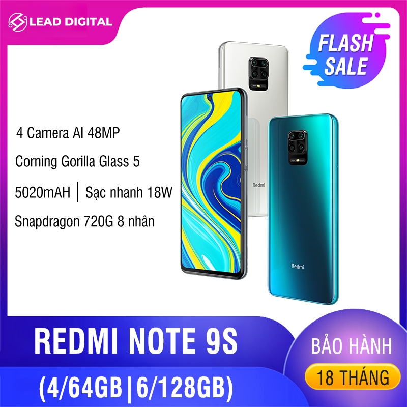 COMBO GIẢM SÂU – [BẢN QUỐC TẾ] Điện thoại Xiaomi Redmi Note 9S 4GB/64G | 6GB/128GB – FULL TIẾNG VIỆT, Snapdragon 8 nhân 720G, Màn hình 6.67 inches, Pin siêu khủng 5020mAh sạc nhanh 18W, Camera 48MP/8MP/5MP/2MP góc siêu rộng – BH 18 tháng