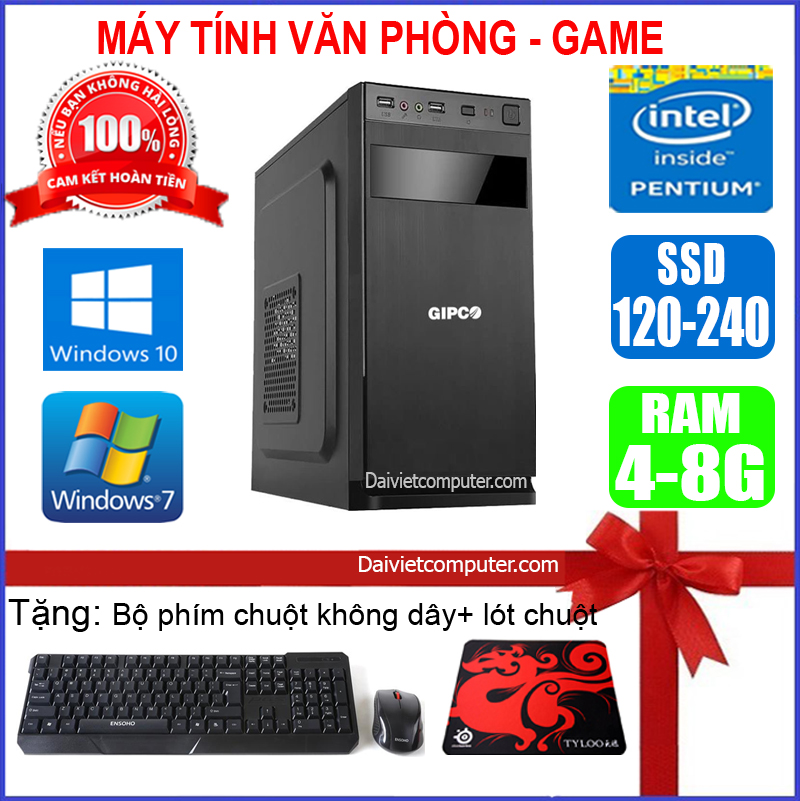 Case máy tính để bàn CPU Dual Core E7/8xxx / G2010 Ram 4GB / HDD 250GB-500GB / SSD 120GB-240GB +...