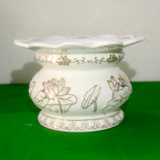 Lư hương thờ cúng hoa sen trắng-Có khay hứng tàn nhang