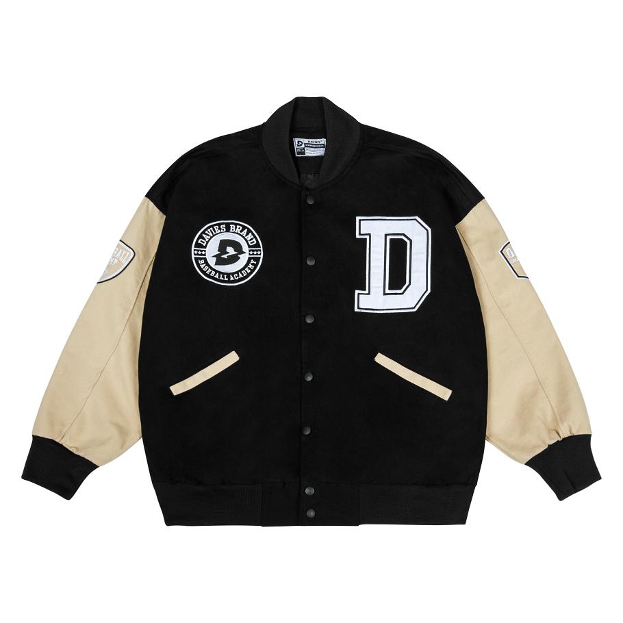 Áo khoác bomber bóng chày thêu chữ Davies – Beige Varsity Baseball Academy Bomber