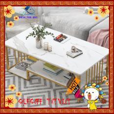 Bàn uống nước, Bàn trà Sofa phong cách hiện đại, bàn hình chữ nhật hoa văn cẩm thạch khung vàng