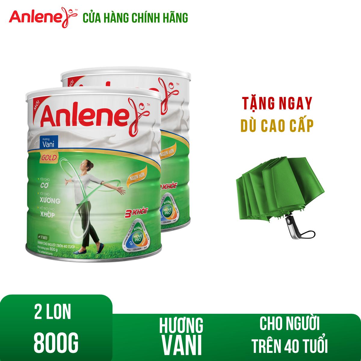 Bộ 2 Lon sữa bột Anlene Gold Movepro Vanilla 800g Tặng Dù cao cấp