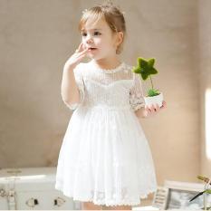 (Loại 1) Váy ren trắng cho bé mặc đi tiệc 10-30kg