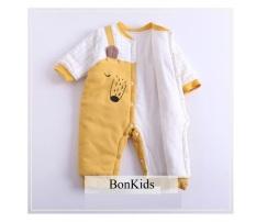Body dài trần bông, bodysuit dài tay cotton cho bé trai và bé gái sơ sinh từ 3-13kg- BD46