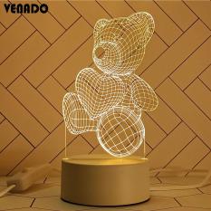 [Nhiều Mẫu] Đèn Led Mica Hình Thú Cưng Heo Gấu Thỏ Ngựa Đại Bàng Cú Mèo Hươu- VENADO Đèn ngủ mica led 3D loại giắc cắm 2 chân 3 màu