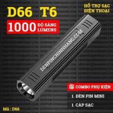 Đèn pin siêu sáng D66 T6 hỗ trợ sạc dự phòng