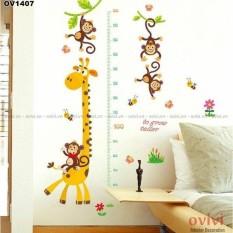 Decal tranh dán tường mẫu đo chiều cao hươu khỉ cho bé, sản phẩm tốt với chất lượng và độ bền cao, cam kết giống như hình