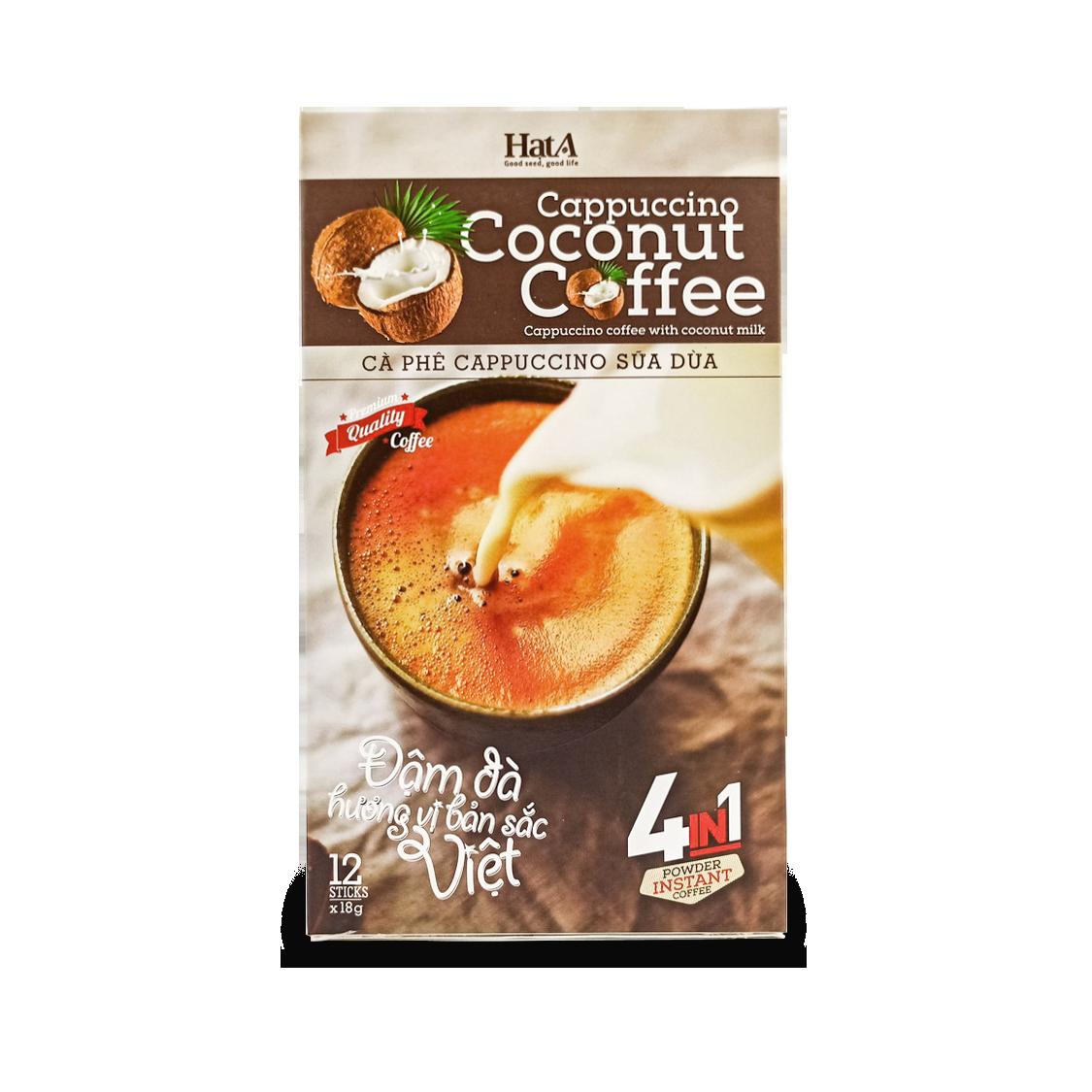 Cà Phê Hòa Tan Cappuccino Sữa Dừa 4 In 1 Hạt A Cafe Vị Cốt Dừa Tự Nhiên – 216g/ 12 Gói