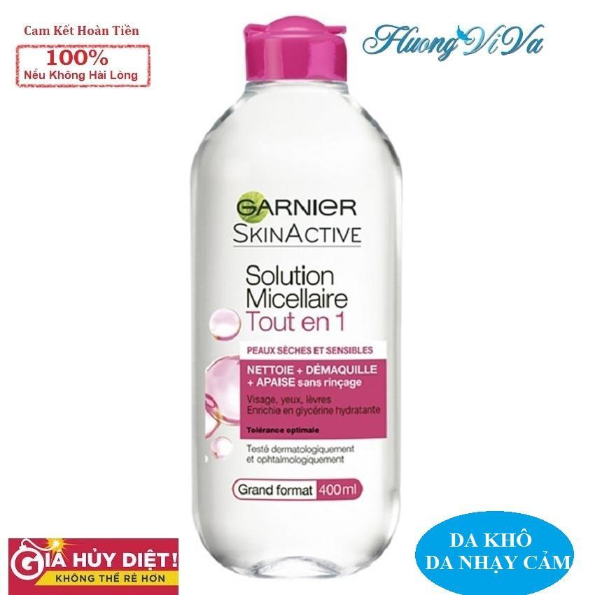 (BẢN PHÁP) Nước Tẩy Trang Garnier Skin Active Solution Micellaire 400ml màu hồng đậm (cho da khô, nhạy cảm), Nước...