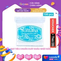 Tăm Bông ngoáy tai – Bông vệ sinh tai mũi người lớn kháng khuẩn tiệt trùng Softtana AZ10 dạng túi zip làm sạch các chất ẩm, chất bẩn bên trong tai, mũi sử dụng 100% nụ bông đã được tinh chế – 1 Túi – ( 100 que / túi) – Guty Care