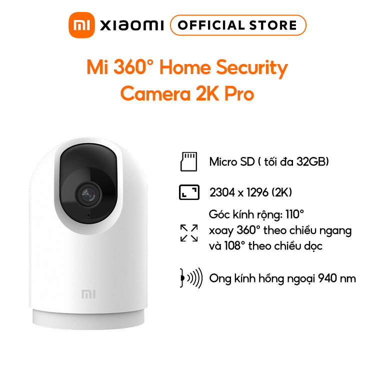 Camera An Ninh Xiaomi Mi home Security 360 độ 2K Pro   Ống kính 6P, hình ảnh sắc nét   Bảo Hành 12 Tháng – Hàng Chính Hãng