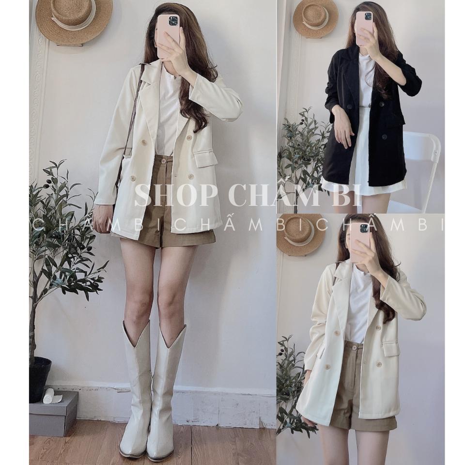 Áo blazer cổ vest A.243, Áo khoác dài tay 1 lớp 4 cúc vạt vuông phong cách Hàn Quốc