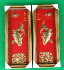 Tranh cá chép bằng Đồng Lý Ngư Vọng Nguyệt (Bộ đôi)