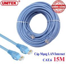 Dây cáp mạng LAN Internet bấm sẵn chuẩn CAT 6 Unitek Y-C814ABL dài 15m ( cat6 hỗ trợ 1000Mbps)
