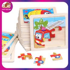 Tranh ghép gỗ 9 mảnh, đồ chơi xếp hình lắp ráp nhiều hình ngộ nghĩnh phát triển tư duy cho trẻ 3-7 tuổi