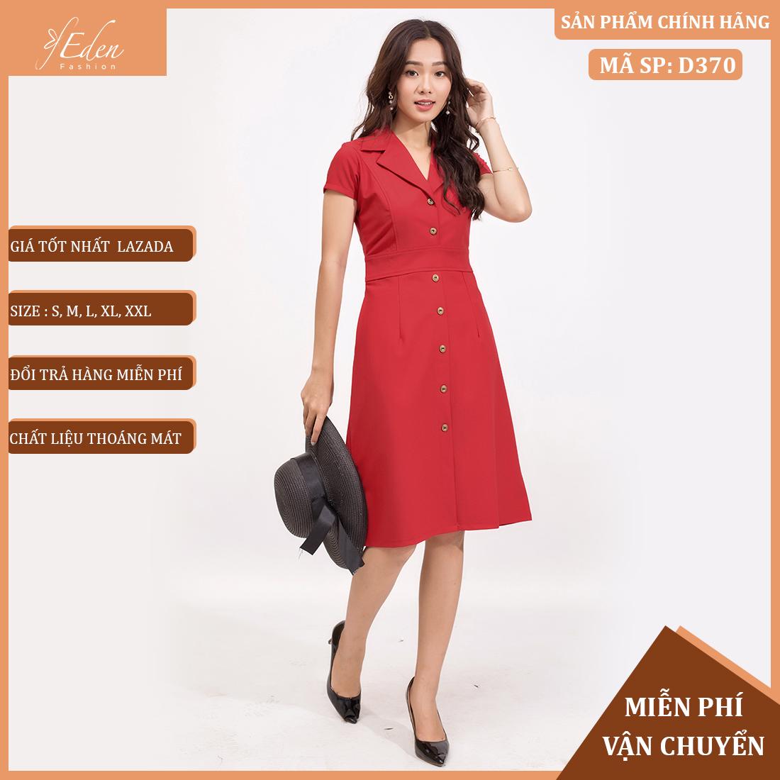 Váy Nữ Công Sở Thời Trang Eden Cổ Bẻ DanTon Thanh Lịch - D370