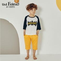 Đồ bộ mặc nhà bé trai Unifriend thun lửng hoạ tiết người dơi U9SSTL31