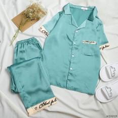 ❤️Bộ Pijama Lụa Phối Chữ, Chữ Ký❤️ -Tay Ngắn Quần Dài-Sau Sinh Mặc Được.(Hàng Có Size)