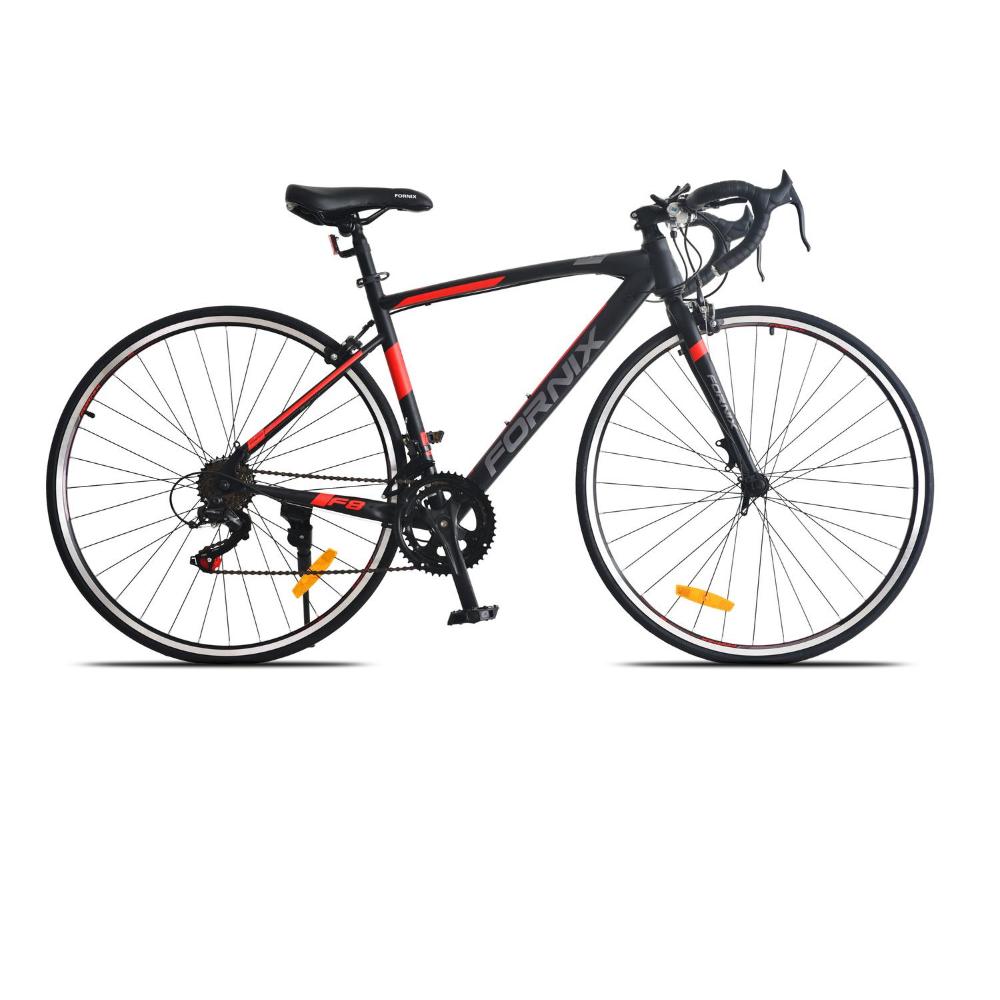 Xe đạp đua Fornix F8, Khung Sườn hợp kim thép cao cấp, tay đề SHIMANO, bộ truyền động SHIMANO, tốc độ 14Speed, vòng bánh 27.5inX700C (Bạn cao từ 1m50) màu Xám – Đỏ – Đen