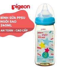 Bình sữa cổ rộng PPSU Plus Ngôi sao Pigeon 240ml (M)