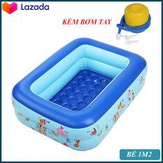 Bể bơi phao 2 tầng hình chữ nhật Size 120x95x35 cho bé – Hồ bơi cho trẻ 1,2m, swimming pool + Keo miếng vá bể