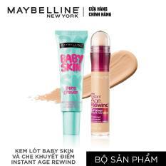 Bộ đôi kem lót baby skin + Bút che khuyết điểm instant Age Rewind Maybelline Tông sáng
