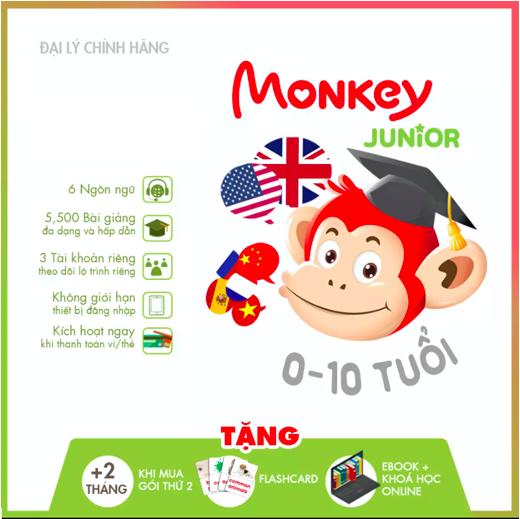 Monkey Junior (Trọn đời, 4 năm, 2 năm,1 năm) – Phần mềm đa ngôn ngữ cho trẻ em