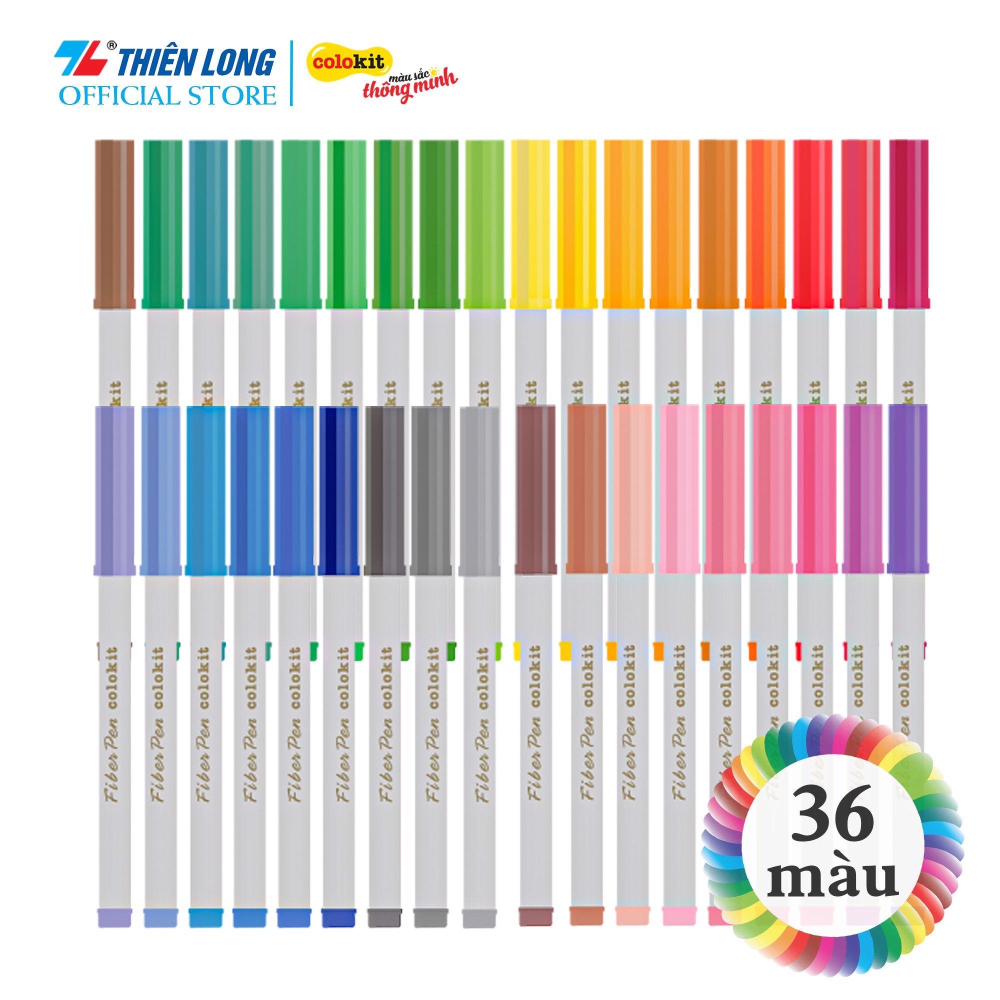 Bút lông màu Fiber Pen Colokit Thiên Long - Bộ 36 màu chuyên viết nét thanh, nét đậm, viết chữ...