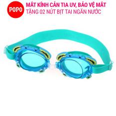 Kính bơi trẻ em hình cua POPO kính bơi cho bé dưới 12 tuổi mắt kiếng bơi chống tia UV hạn chế sương mờ