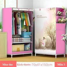 (Chọn mẫu) Tủ vải 3D đựng quần áo 1 buồng 2 ngăn