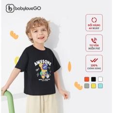 Áo thun bé trai bé gái BabyloveGo hình gấu chất liệu cotton sợi thoáng mát cho bé từ 8kg đến 38kg – AG001