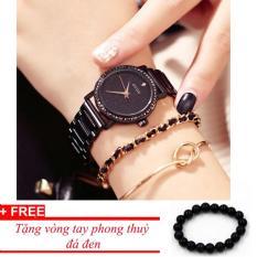 Đồng hồ nữ GUOU full đen viền đính đá dây thép cao cấp sang chảnh IW-G8232(full box) (Tặng vòng tay phong thủy)