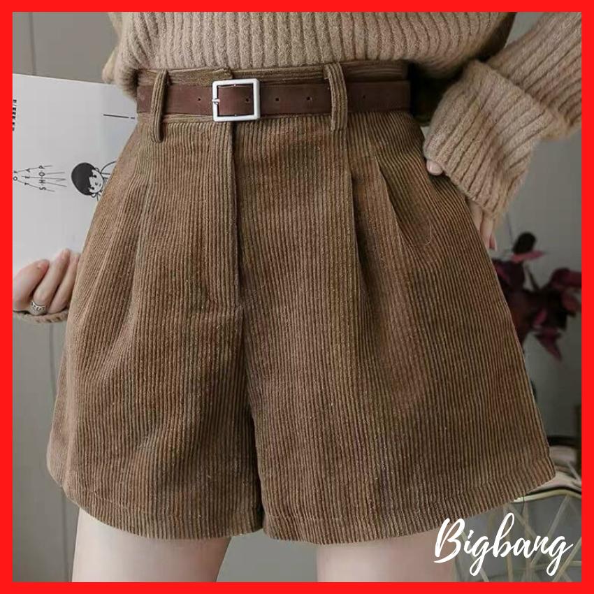 Quần Short nữ Lưng Cao Vải Nhung Thời Trang Cá Tính, quần short nhung cực hot