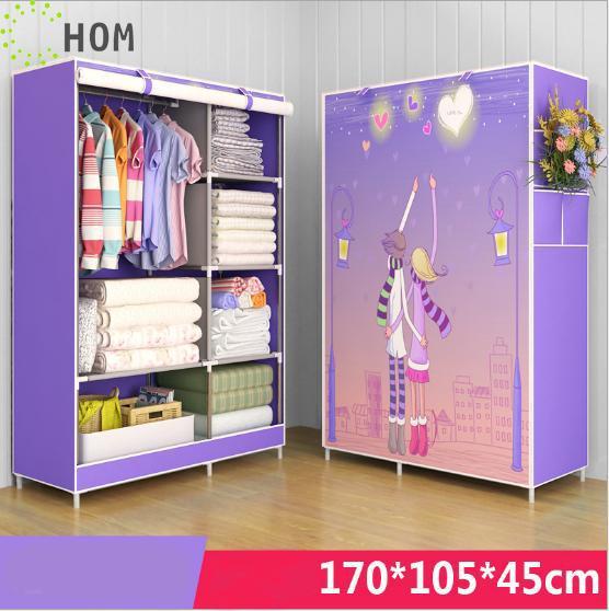 [HCM]Tủ Vải Để Quần Áo Tủ Vải Quần Áo Tủ Vải Họa Tiết 2 Buồng 6 Ngăn J0313