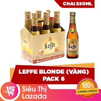 [Siêu thị Lazada] Lốc 6 chai Leffe Blonde (330ml/chai), Màu Vàng Sáng Sang Trọng, Hương Vị Nhẹ Nhàng Đặc Trưng, Thiết Kế Tiện Lợi