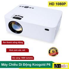 Máy chiều Mini, Máy chiếu thông minh Koogold đa chức năng. Kết nối trực tiếp điện thoại bằng wifi Bluetooth, Kiểu dáng nhỏ gọn,Điều khiển từ xa vô cùng tiện lợi