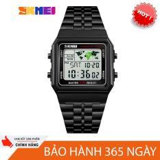 đồng hồ dây kim loại nam skmei Sk1-38 dây thép không gỉ, mặt vuông kiểu dáng mạnh mẽ, hiển thị đèn led chịu nước tốt 30M