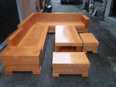 Bộ bàn ghế sofa góc hộp gỗ sồi